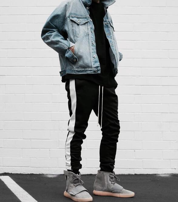 High Quality 2018 New Long Side Stripe Pants Fashion Street Wear Hip