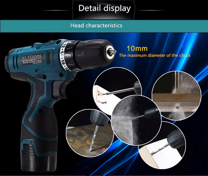 Aliexpress com : Buy Xltown12/16 8/25v multi function rechargeable lithium  battery electric screwdriver household power tools mini electric drill from