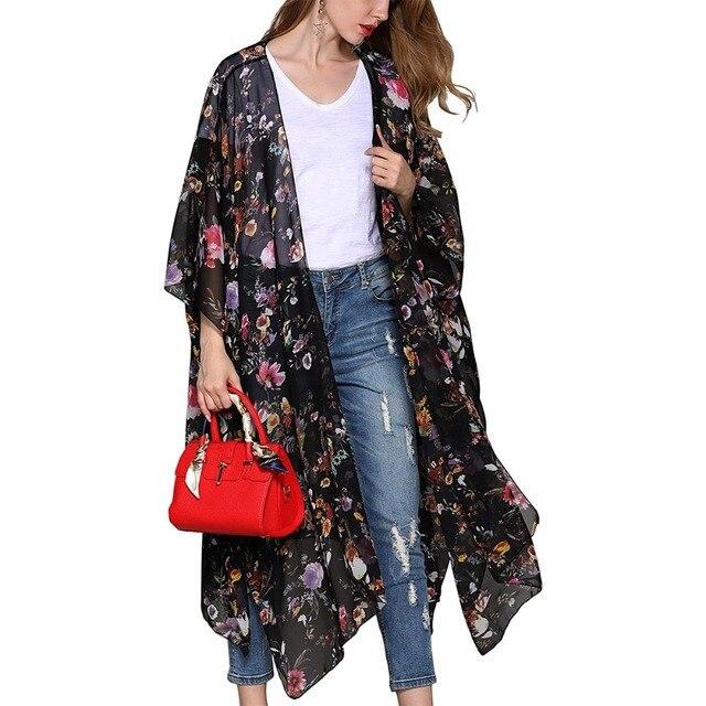 606754e18175 Mujeres estampado Floral Kimono chifón cárdigan largo verano playa cubrir  arriba Tops sueltos chal Outwear ropa de blusa femenina