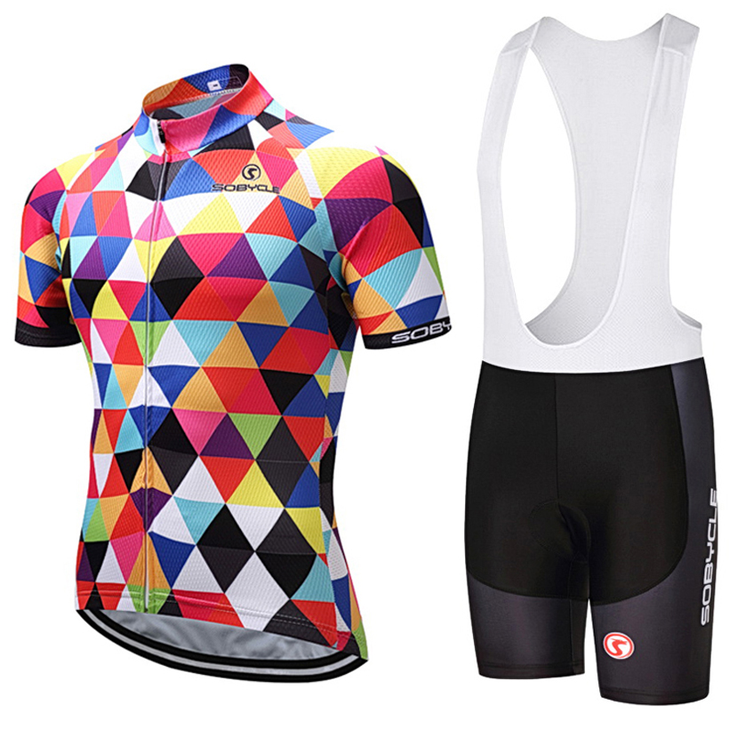 2018 uci sobycle colorful bike jersey Quick Dry Mens Bicycle clothes short sleeves pro Cycling Jerseys gel bike shorts set