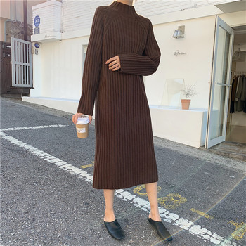 Women Winter basic Long Sweater Dress Turtleneck long sleeve Elegant solid color brief slim Knitted dresses pullovers 3