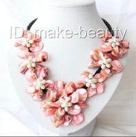 classic white baroque freshwater pearl black shell flower leather necklace