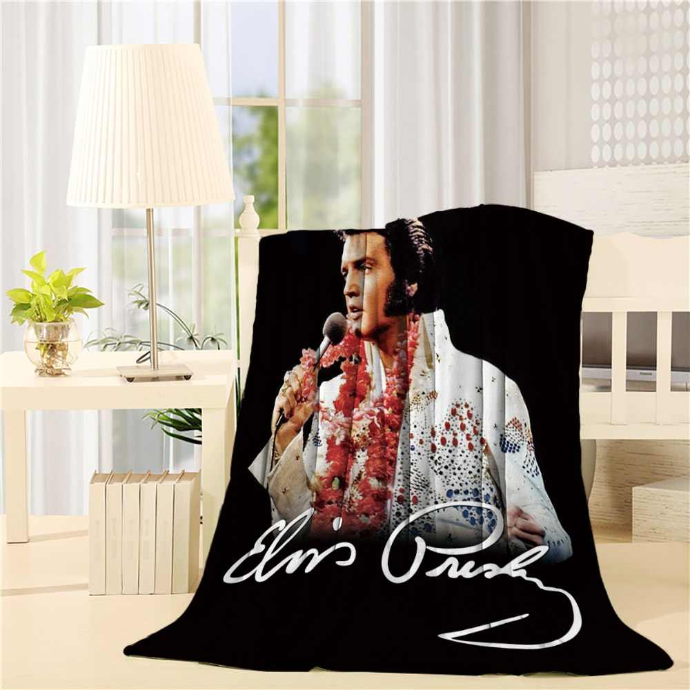 Elvis Presley King of Rock and Roll Aloha from Hawaii Plush Blanket Queen Size