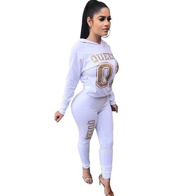 2017 New Women Fashion 2Pcs Clothes Set Casual Hooded Tops Pencil Pants Tracksuit Letter Printed Sweatshirt Suit Autumn 3 Color
