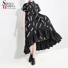 חדש 2020 נשים קיץ ארוך שחור פסים חולצה שמלה בתוספת גודל ראפלס גבירותיי מסלול ערב המפלגה מועדון שמלות Robe Femme 5050