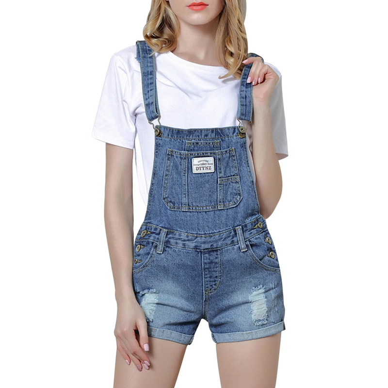 2018 New Summer Frazzle Denim Shorts Women Slim Strap Denim Overalls Jeans Pocket Fashion College Wind Women Shorts