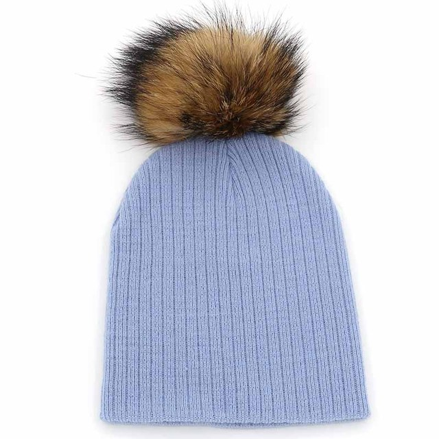 3304f6949a5 2016 Winter Girls Boys Fur Pom Pom Beanies Hats Cotton Beanies Cap ...