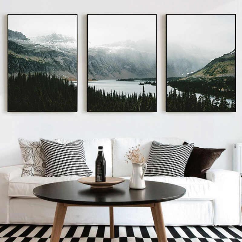 Природа пейзаж холст живопись скандинавском стиле плакат стены искусства картины для гостиной Декор лес плакаты «озеро» и принты