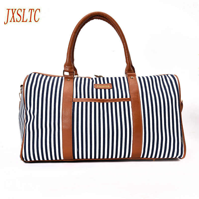 JXSLTC Canvas Leather Women Travel Bag women Travel Duffel Bags Tote Large Weekend Bag Overnight Carry on Luggage Shoulder Bags.