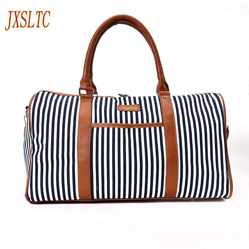 купить JXSLTC Canvas Leather Women Travel Bag women Travel Duffel Bags Tote Large Weekend Bag Overnight Carry on Luggage Shoulder Bags. недорого