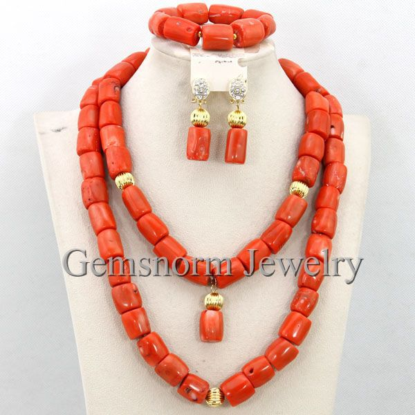 Latest Wedding Nigerian African Coral Beads Jewelry Set Indian New Bridal Coral Necklace Set Free Shipping CNR292