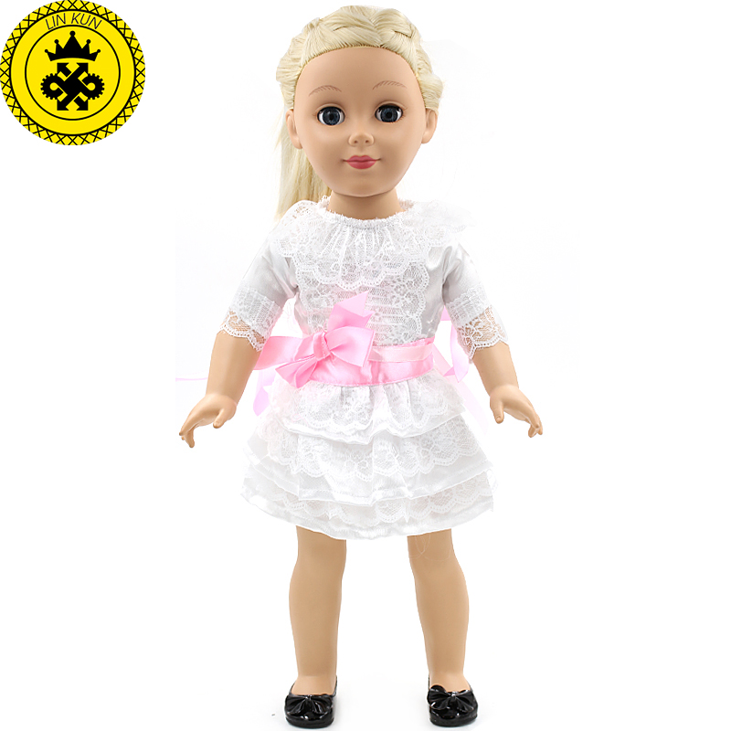 Pink Belt White Fess Handmade Fashion Clothes Dress for 18inch American Girl Doll Party MG-053 1pcs white pink doll fashion dress for 18 inch dolls american girl doll clothes new style