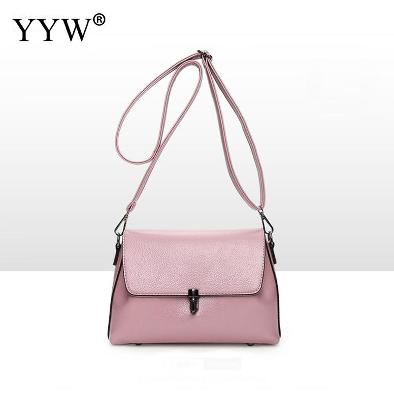 Fashion Pu Leather Shoulder Bag Hot Sale 2018 Women Messenger Bag Ladies Crossbody Bag Pink Trendy Small Flap Shopping Handbag
