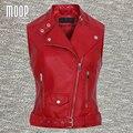 Chaleco 100% de la chaqueta de cuero de piel de cordero de cuero genuino rojo off-centro de abertura con cremallera chaleco colete chalecos mujer LT746 ENVÍO GRATIS