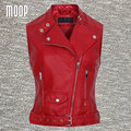 Red genuine leather vest 100%lambskin leather jacket off-center zip placket waistcoat chalecos mujer colete LT746 FREE SHIP