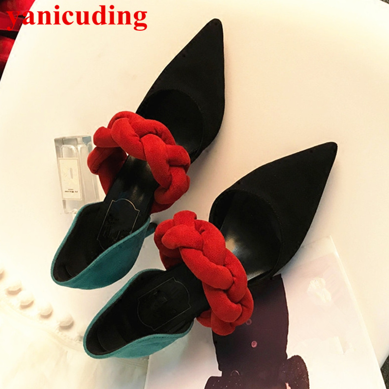 Pointed Toe Flock Women Pumps High Thin Heel Funky Shoes Mixed Color Stiletto Shoes Brand Wedding Party Dress Sapato Feminino moonmeek new arrive spring summer female pumps high heels pointed toe thin heel shallow party wedding flock pumps women shoes