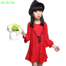Child Clothing 2017 Spring  Autumn Children's Wear Girls lace long Sleeved Dress High-Quality Princess Dress 3-10y Child Clothes