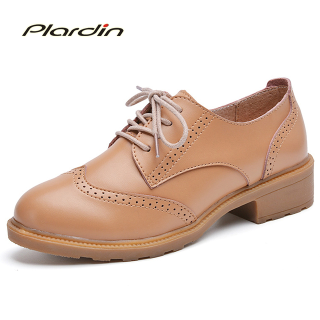 2017 Spring New Arrival Genuine Leather Women Shoes Woman Leisure Oxford UK Style Fashion Round Toe Lace Up  Shoes