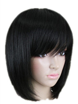 Synthetic None-lacewigs Brilliant Short Wig Fei-show Synthetic Heat Resistant Fiber Wavy Inclined Bangs Hair Brown And Blue Costume Cos-play Salon Party Hairpiece