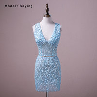 Bất Sexy Luxury Đảng Dresses Sheer Kim Cương Rhinestone Beaded Mini Cocktail Dresses 2018 Màu Xanh V Neck Short 2 Cái Prom Gowns
