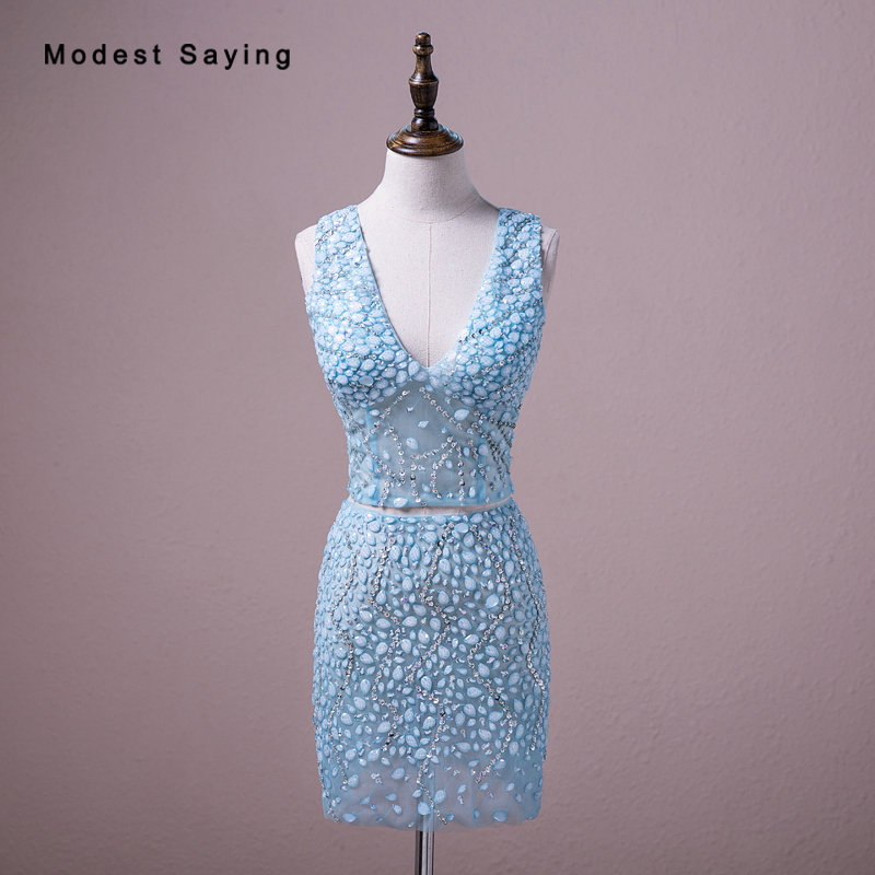 Real Sexy Luxury Party   Dresses   Sheer Diamond Rhinestone Beaded Mini   Cocktail     Dresses   2018 Blue V Neck Short 2 Pieces Prom Gowns