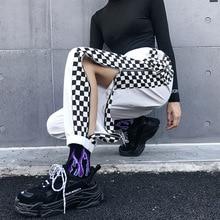 Patchwork Checkerboard Harem Pants Women Plaid High Waist Ca