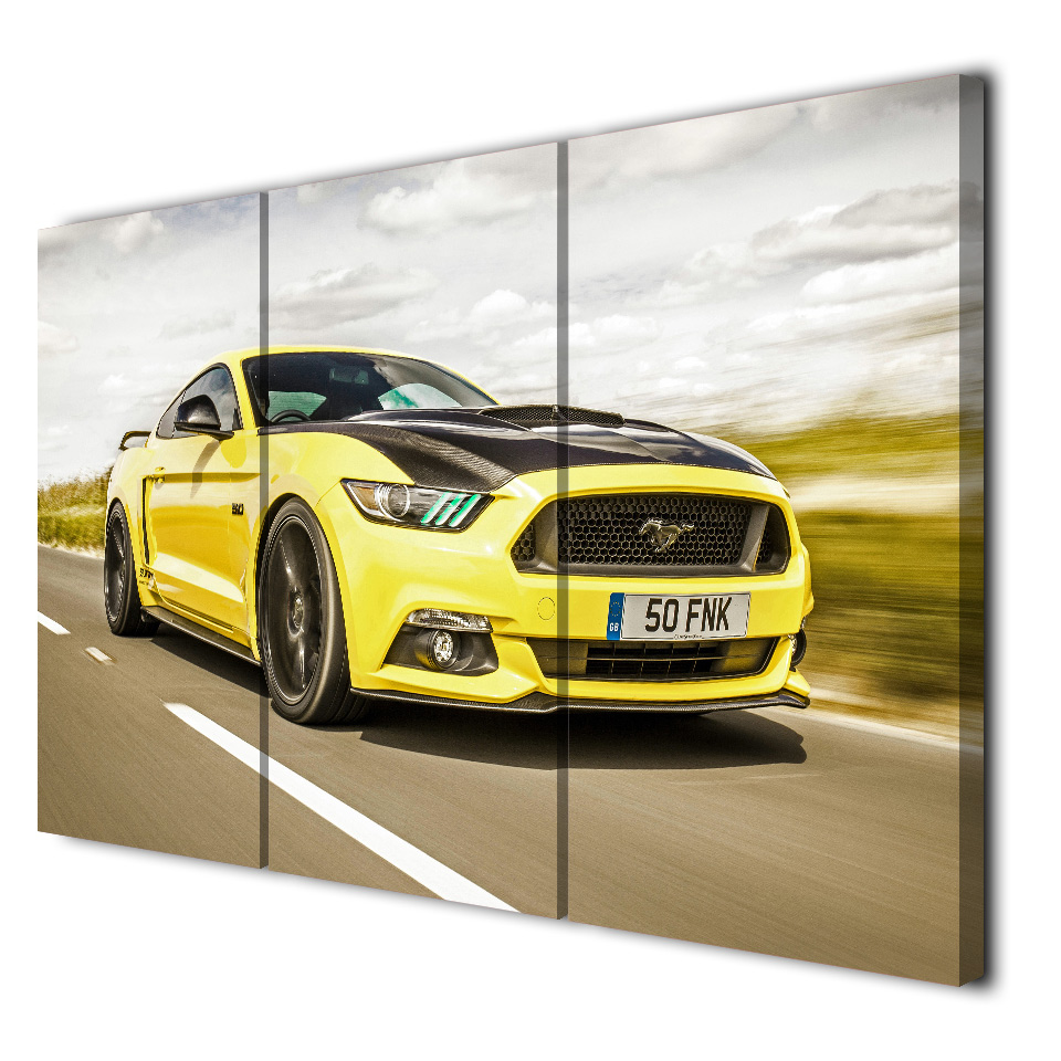 3 Panels Canvas Art Sports Car Ford Mustang Home Decor Wall Art ...