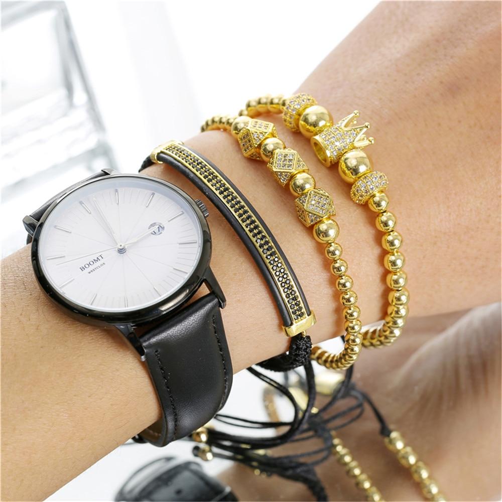 3pcs/set Crown Charm Ice Out Bracelet for Men Copper Beads CZ Micro Paved Balls Luxury Bracelets Braided Hip Hop Wristband ZA004