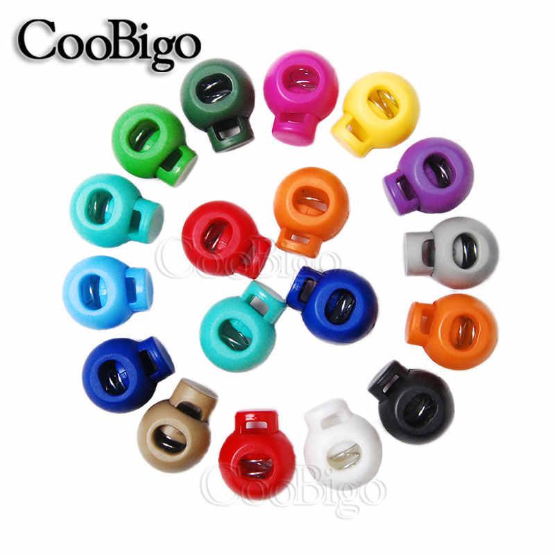 10 pçs colorido bola de plástico redondo cabo bloqueio primavera parar toggle rolha clipe para sapatos esportivos corda cordão diy peças