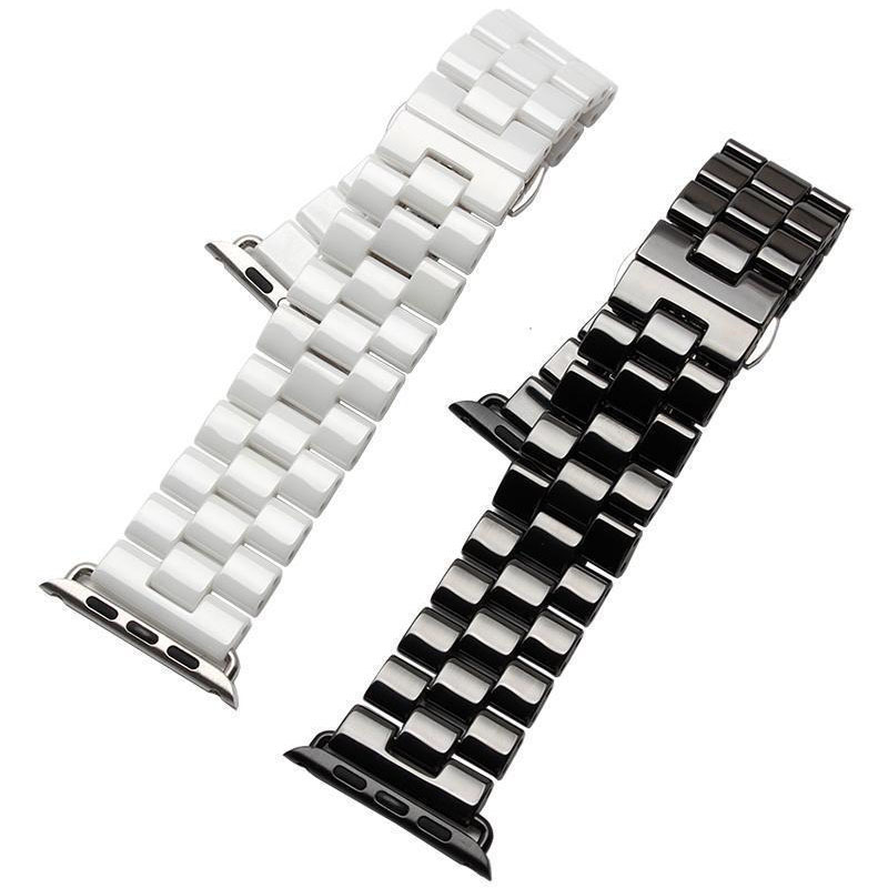 3 Beads Ceramic Watch Band for Apple Watch iWatch Strap for Series 1 2 3 Butterfly Buckle Ceramics Wristband 42/38mm Bracelet