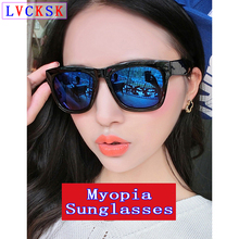 лучшая цена Women Myopia Sunglasses Men Nearsighted Eyeglasses Vintage Big Black Frame Blue Lens blear-eyed shorted sighted HD Spectacles D5