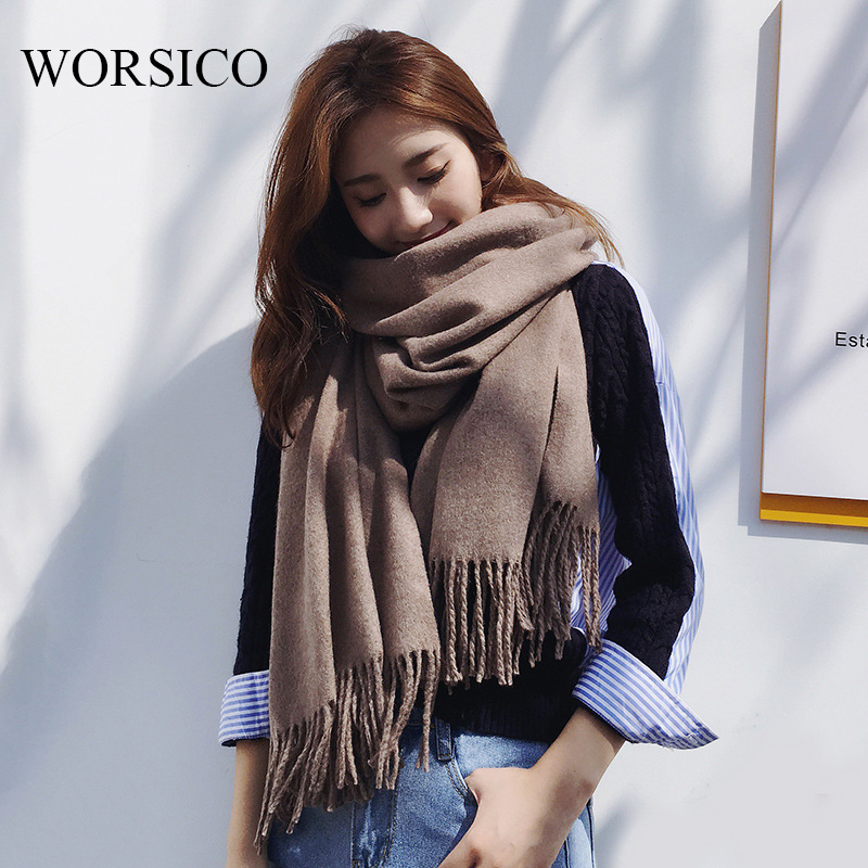 WORSICO New Fashion Warm Scarf Winter Women Scarf Female Cotton Solid Scarf Best Quality Pashmina Tassels