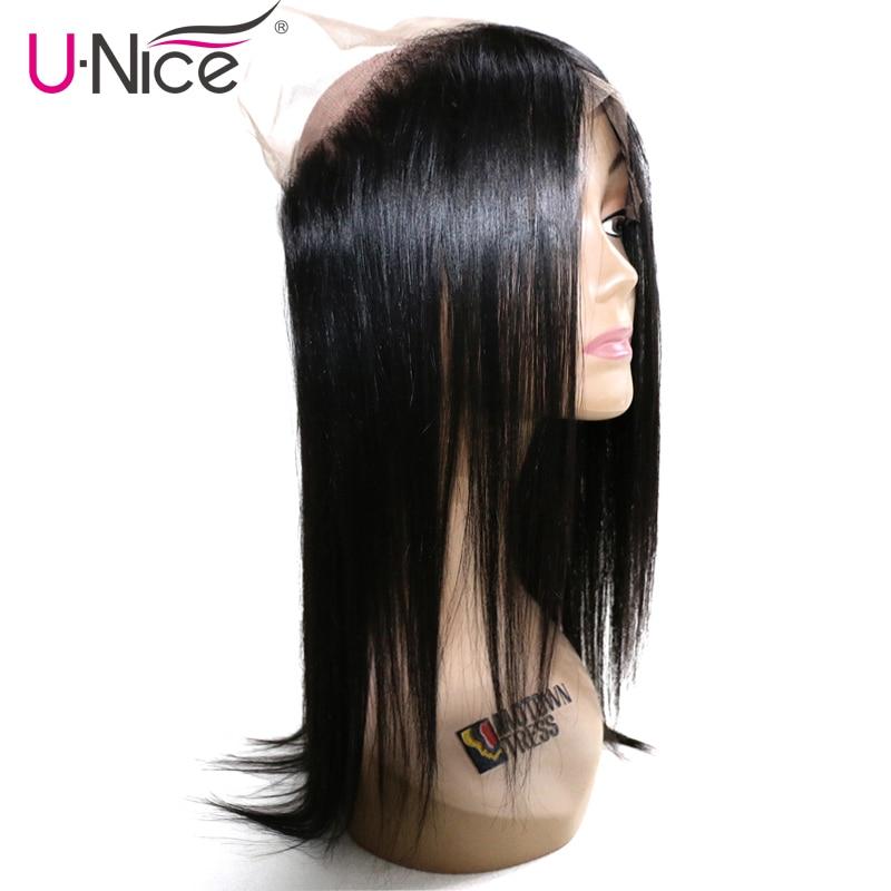 UNICE Closure Human-Hair Lace-Frontal Brazilian Swiss Hair-360 Straight Free-Part 10--20-1piece
