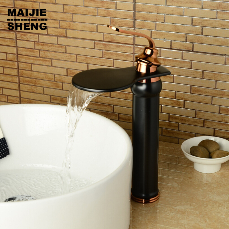 Bathroom black waterfall faucet oil brushed water faucet ...