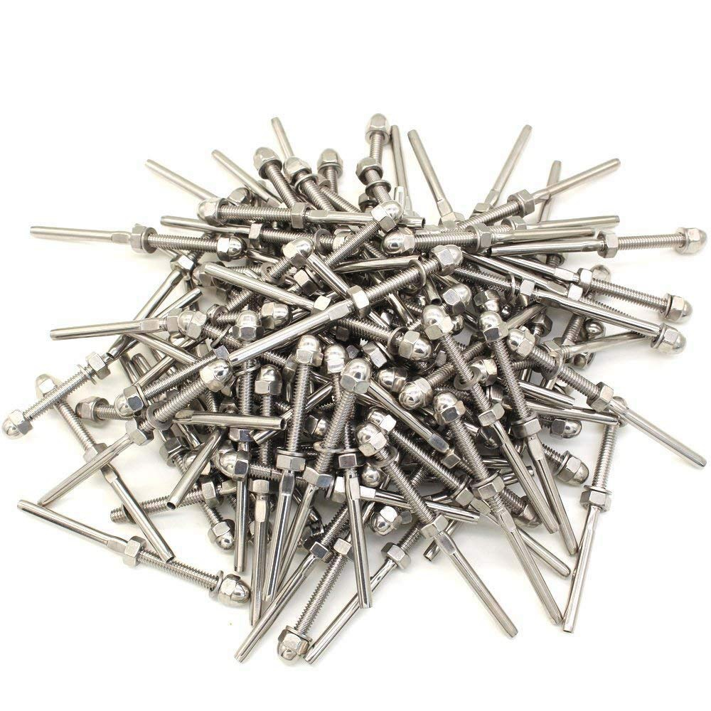 100 Pcs Stainless Steel Handrail Railing Cable Tensioner Threaded Stud End Fitting For 1/8 Inch Cable Wire