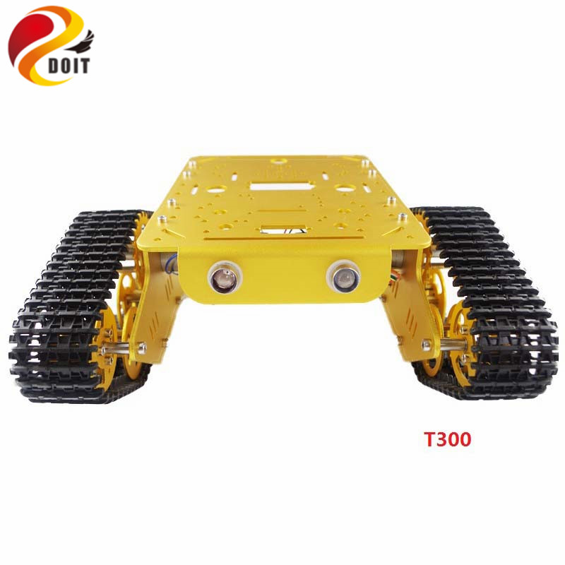 DOIT RC T300 Metal Wall-E Tank Chassis Tracked Robot Tank Chassis with Aluminum Alloy Frame/Chassis 2 Motor Plastic Tracks DIY цена