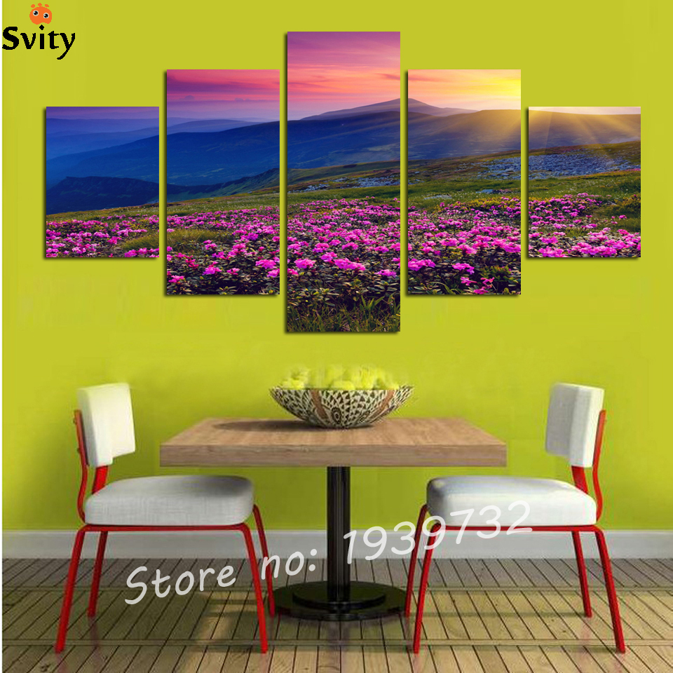 ⑧5 Panels Wall Paintings Sea of Flower Sunset Landscape Printed ...