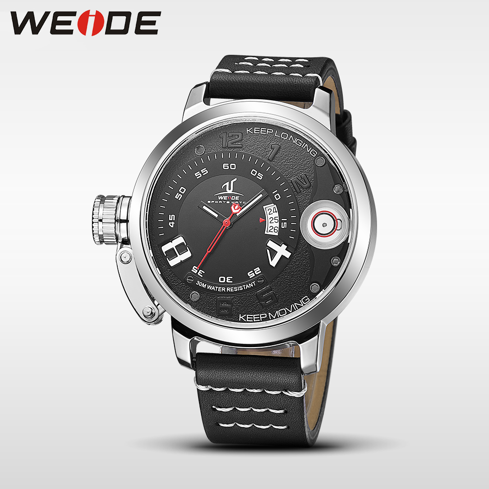 WEIDE men watches top brand luxury men quartz sports wrist watch casual genuine water resistant analog leather watch steampunk weide new men quartz casual watch army military sports watch waterproof back light men watches alarm clock multiple time zone