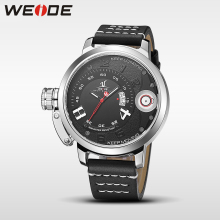 WEIDE men watches top brand luxury quartz sports wrist watch casual genuine water resistant analog leather steampunk