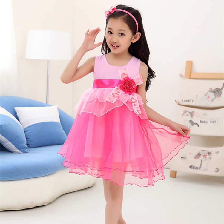 1d39be222536 2018 new girls cute flowers mesh celebrity princess dress 3-12 age children  costume party vestidos baby kids girl clothes 1202D
