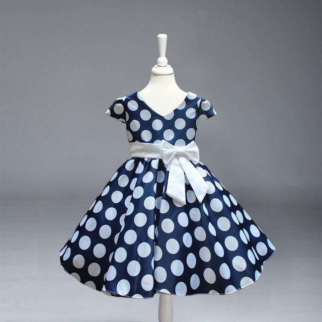 Retail! New Arrival girl princess party Dress baby girl big and  Dot V-Neck party dress free shipping  L616