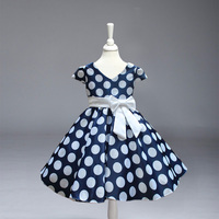 Retail Free Shipping New Arrival Girl Princess Party Dress Baby Girl Big And Dot V Neck