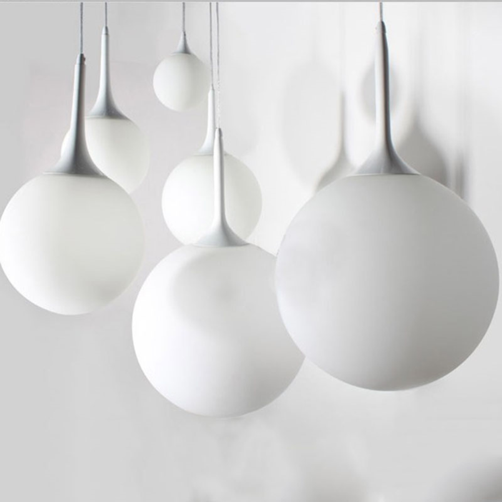 Modern Glass Pendant Lights For Kitchen Globe Hanging Lamp White Ball Lamp luminaire Kugellampe Light Fixtures Pendant Lamp