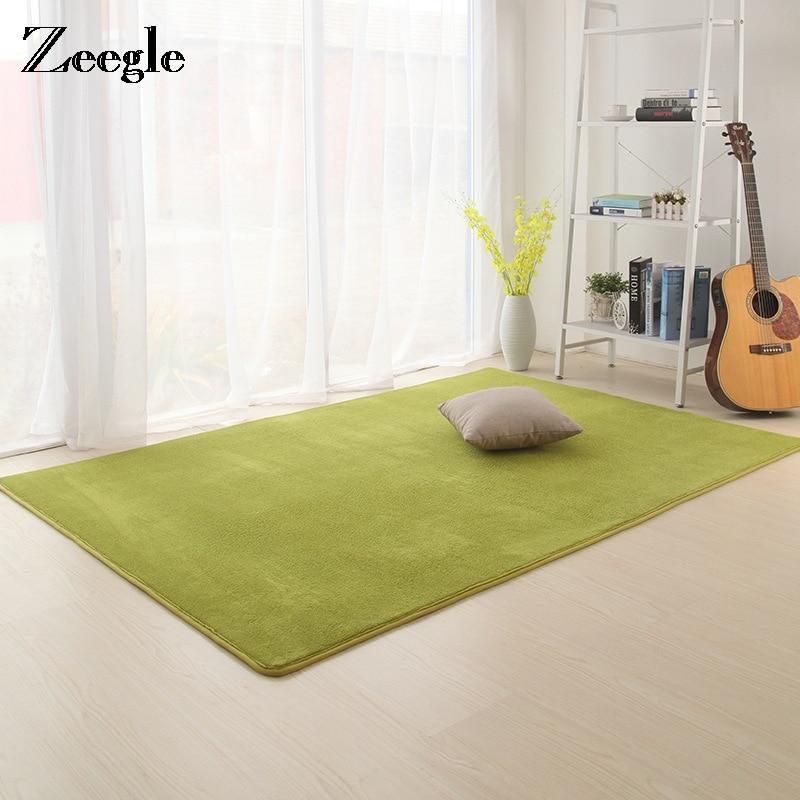 Zeegle Shaggy Solid Carpet For Living Room Large Anti-slip Kids Room Rug Bedroom Ding Room Floor Mats Home Rugs Great Room