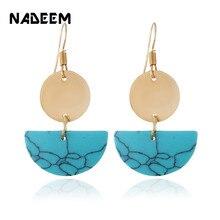NADEEM Natural Ggreen,White,Black Turquoises Stone Circle Drop Dangle Earrings Boho Women Gold Color Semicircle Earrings Jewelry все цены