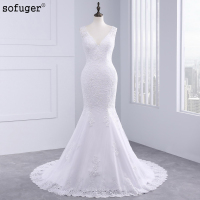 2016 New Fashion Cap Sleeve V Neck Sexy Illusion Back Long Train Tulle Lace Mermaid Wedding