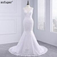 2018 New Fashion Cap Sleeve V neck Sexy Illusion Back Train Lace Mermaid Wedding Dresses Plus Size SOFUGER
