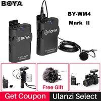 BOYA BY-WM4 Профессиональный Петличный Микрофон Беспроводной нагрудные микрофон Системы для Canon Nikon Sony камеры DSLR видеокамеры Регистраторы для ...