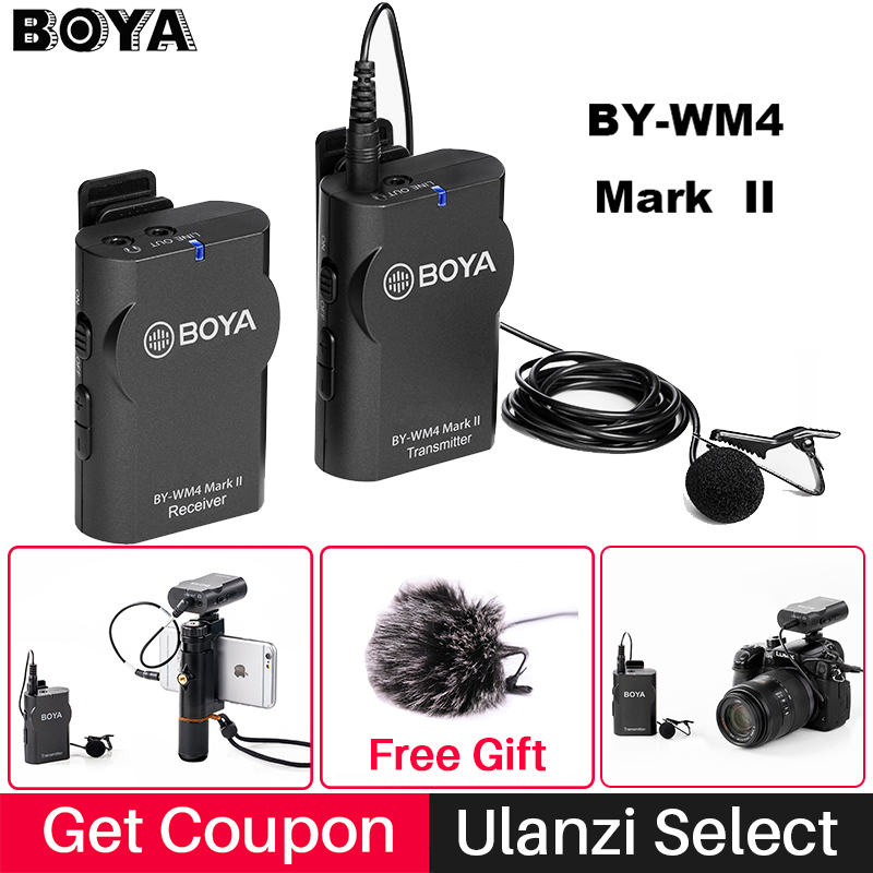 Boya BY-WM4/WM4 Mark II Wireless Studio Condenser Microphone System Lavalier Lapel Interview Mic for iPhone Canon Nikon Cameras