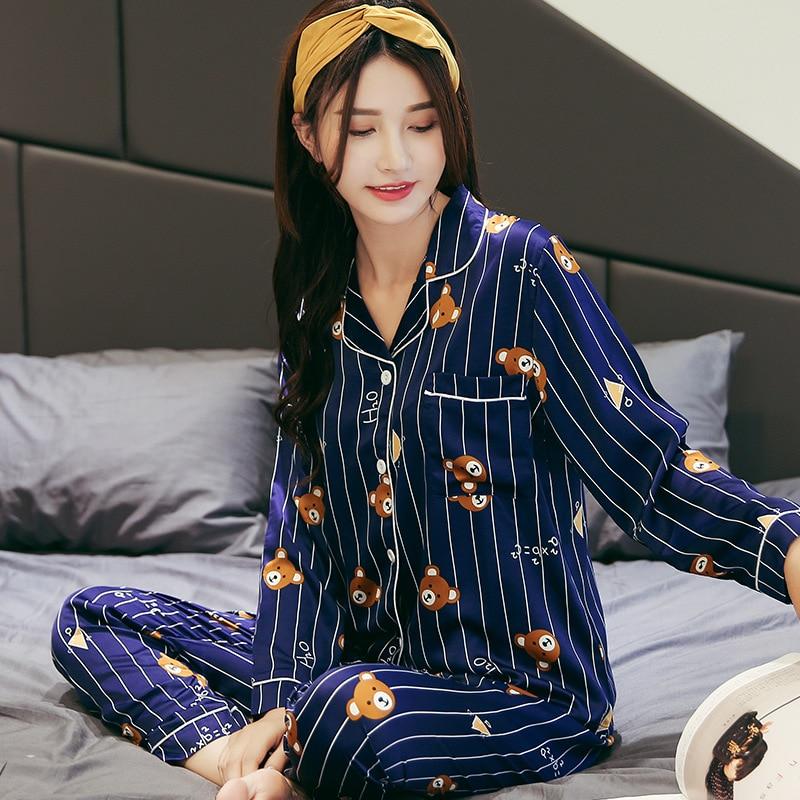 9d307ca39 Caliente 2018 primavera otoño mujeres conjuntos de pijama con cuello en V  de manga larga de dibujos animados de las mujeres ropa de dormir pijamas  camisón ...